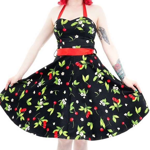 Hearts & Roses London Cherry Halter Dress Pinup S